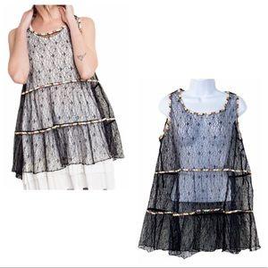 EASEL Black sheer lace boho sleeveless tunic top
